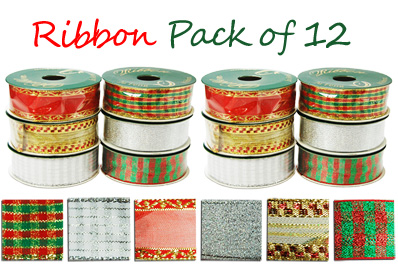 12x Gift Ribbon Rolls for Gift Wrapping,  Decoration (Assorted Colours/Designs)