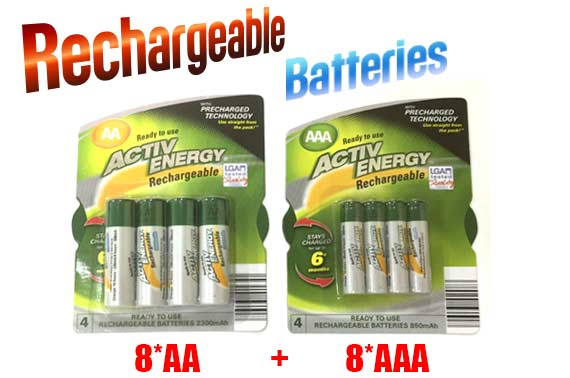 Value Bundle: 16PCS (8x AAA + 8x AA) ACTIVE ENERGY Ni-MH Rechargeable Batteries