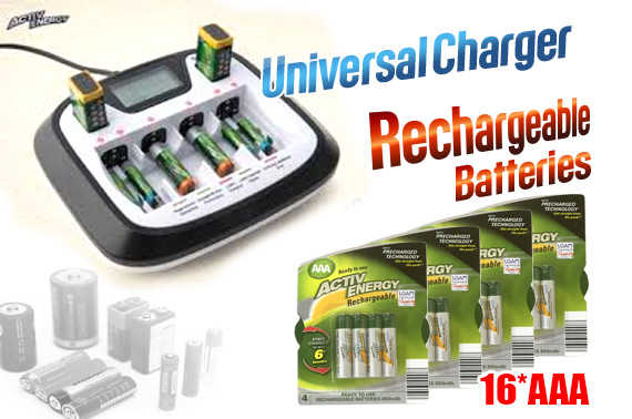 Value Bundle: Factory Repacked BAUHN Battery Charger & Rechargeable Batteries