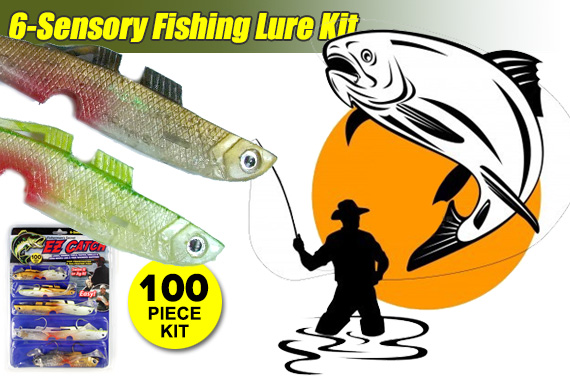 100-Piece EZ Catch 6-Sensory Fishing Lure Kit