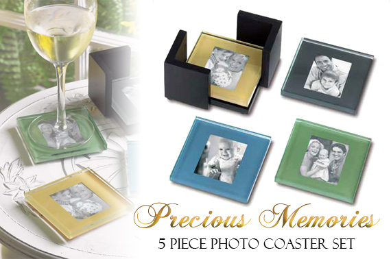 Set of 4 Glass Photo Coasters with Holder
