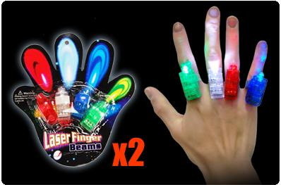 2 Packs of Colour Laser Finger LED Party Lights (8 Pieces)