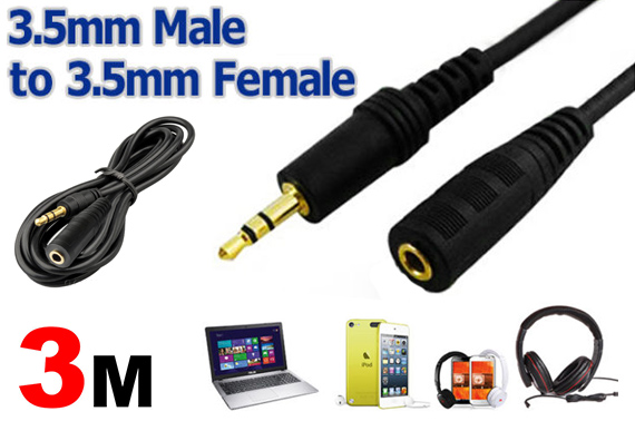 3-Meter Male To Female 3.5mm Stereo Extension Cable