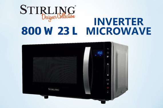 Stirling 23L Flatbed Inverter Touch Panel Microwave Oven 800W with LED Display
