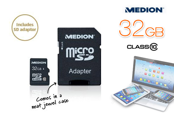 Medion 32GB MicroSDHC Class 10 Memory Card with Adapter