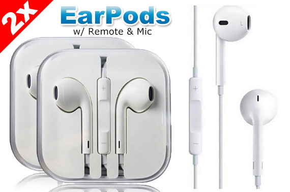 2x EarPods Earphones w/ Mic for Apple iPhone 4 5 6 6s iPad Plus