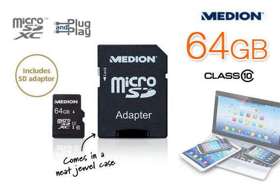 Medion 64GB MicroSDXC Class 10 Memory Card with Adapter