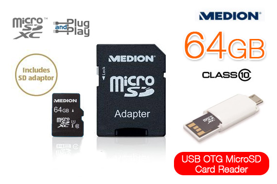 Medion 4-in-1 USB OTG Micro SD Card Reader with 64GB microSDXC Card and Adapter