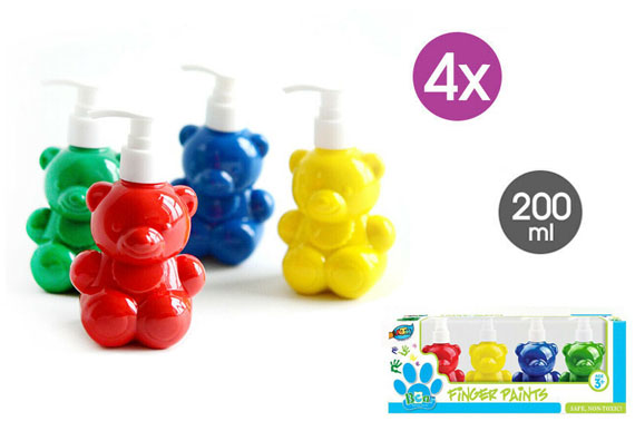 4x Bottle Washable Finger Paint 200ml Non-toxic Art Sponges
