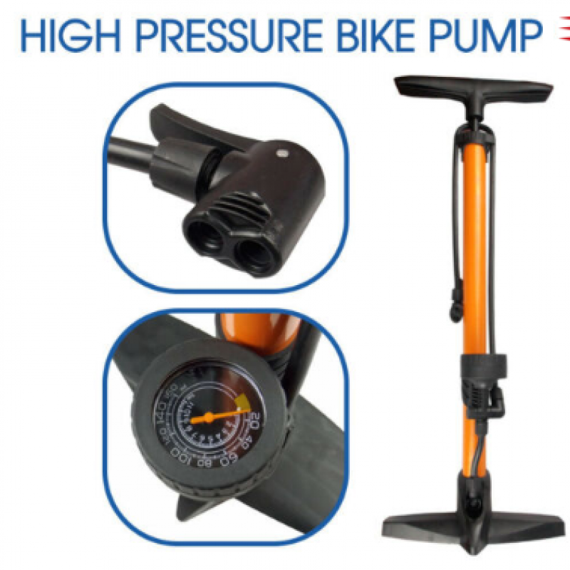 High Pressure Bicycle Bike Alloy Floor Air Pump Gauge