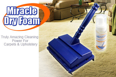 Super FREE Ozstock Day: Miracle Dry Foam Carpet and Upholstery Cleaning Kit w/ Shampoo and Brush