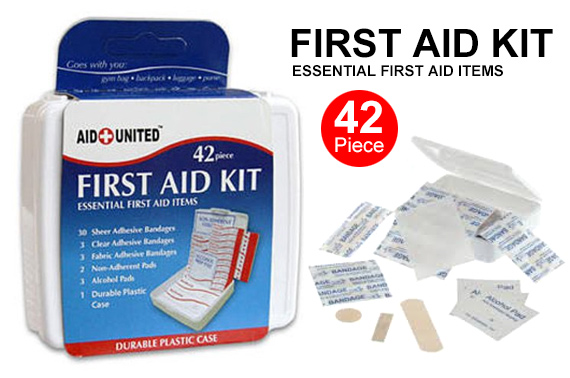 42-Piece Travel First Aid Kit with Case