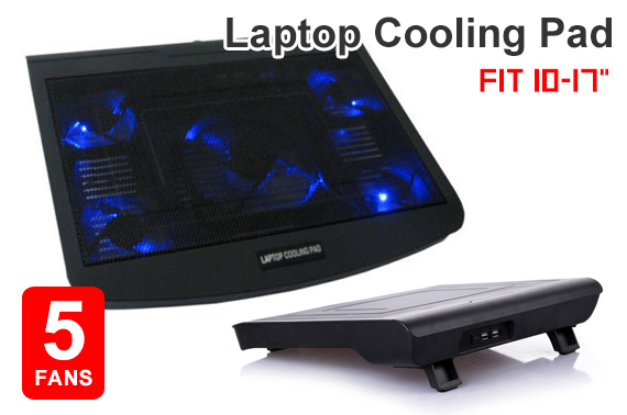 USB Powered Cooling Pad with 5 Fans For 10-17