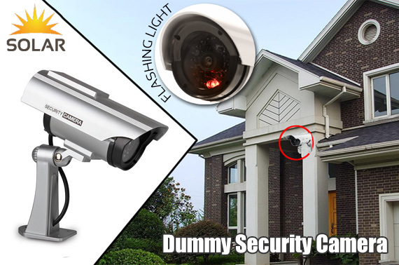 Solar Powered Dummy Security Camera with LED Light