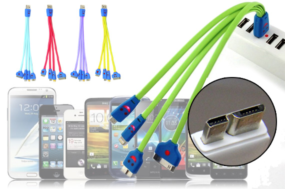 FREE Ozstock Deal: Universal 4-in-1 Colourful Flat USB Charging Cable with LED Smiley Light