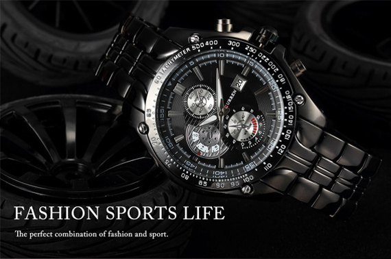 Luxury Mens Stainless Steel Quartz Wrist Sport Watch