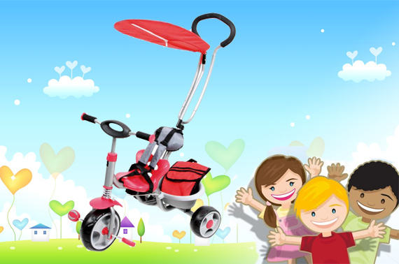 Deluxe Steerable Trike with Canopy & Bag - Red