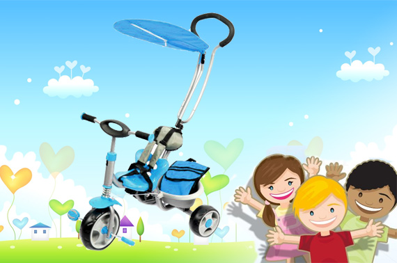 Deluxe Steerable Trike with Canopy & Bag - Blue