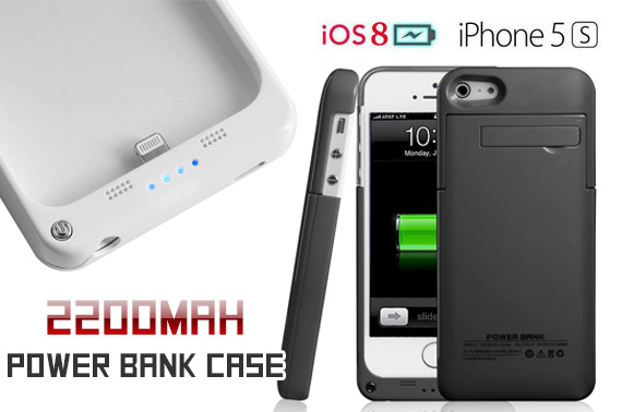 Portable iPhone 5/5S 2200mAh External Battery Charger Case