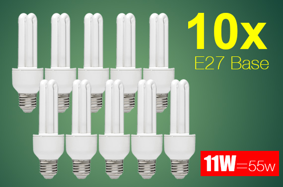 10x 11W (=55W) Energy Saving Long Life E27 Base Light Bulb