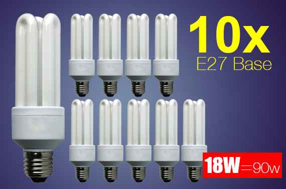 10x 18W (=90W) Energy Saving Long Life E27 Base Light Bulb
