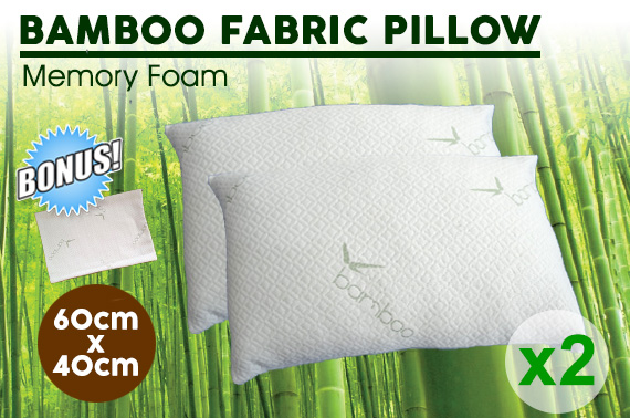 2x Luxury Bamboo Memory Foam Pillow w/ Extra Bamboo Pillow Covers