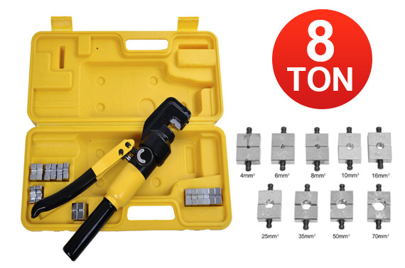 8 Ton Hydraulic Cable Crimping Tool w/ 9 Dies