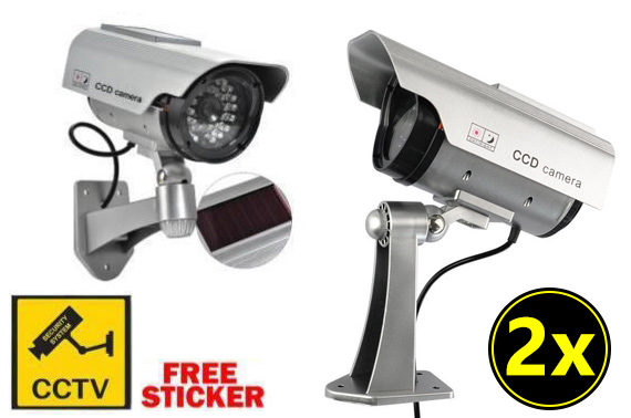2x Solar Powered Dummy Security Camera with LED Light