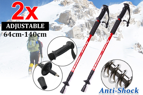 2x Anti Shock Adjustable Hiking Trekking Poles
