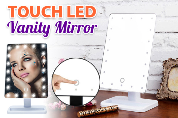 20 LED Lighted Touch Screen Rotating Makeup Mirror