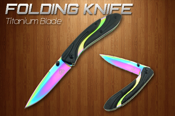 Rainbow Titanium Blade Folding Knife