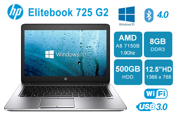 "HP Elitebook 12.5"" Laptop 725 G2 AMD A8 1.9GHz 8GB 500GB Win10 Pro"