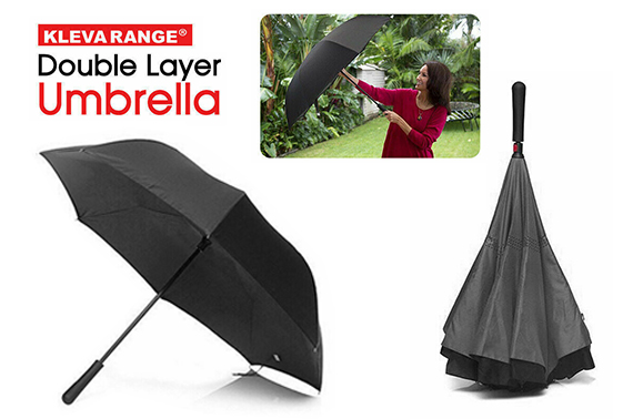 Kleva Range Double Layer Reversible Umbrella prevents drips leaks and mess