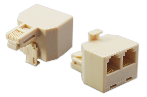 2x Duplex Modualr Phone Wall Jack Adapter Splitter 1-2 Line