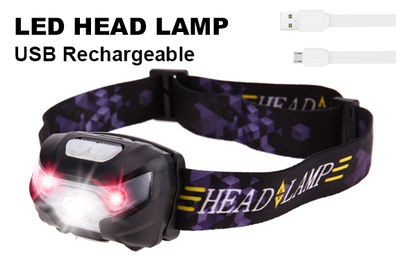 USB Rechargeable LED Head Torch Headlight Lamp