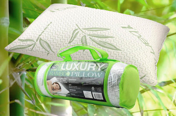 Luxury Bamboo Pillow 65x45x12cm Queen Memory Foam