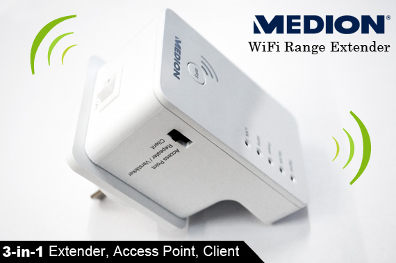 Brand New 3-in-1 MEDION Wifi Range Extender