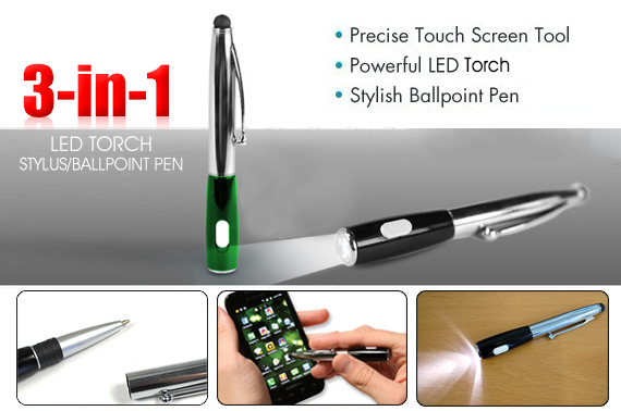 3-in-1 Stylus with Ballpoint Pen and LED Torch