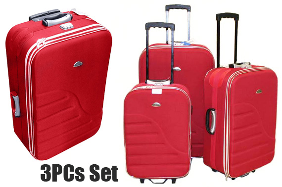 Quality 3 Piece Luggage Set - Red