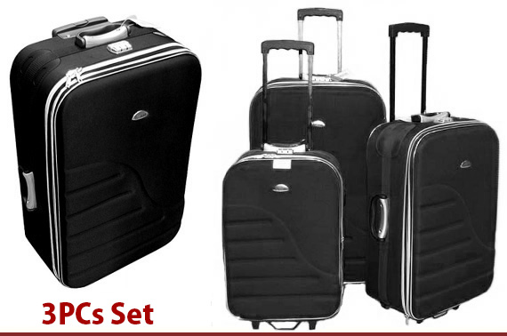 Quality 3 Piece Luggage Set - Black or Blue Random