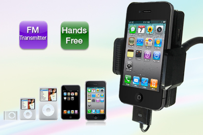All-In-One FM Hands-Free Car Kit and Stereo FM Transmitter for iPhones and iPods/MP3s