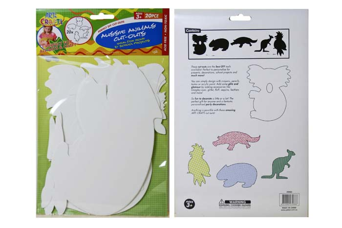 20pc Aussie Animal Cut-out Value Pack