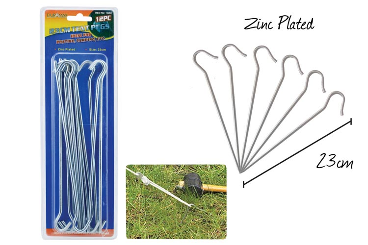 12pc Tent Pegs - 23cm Long