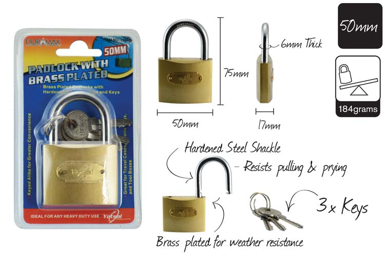 50mm Brass Plated Padlock