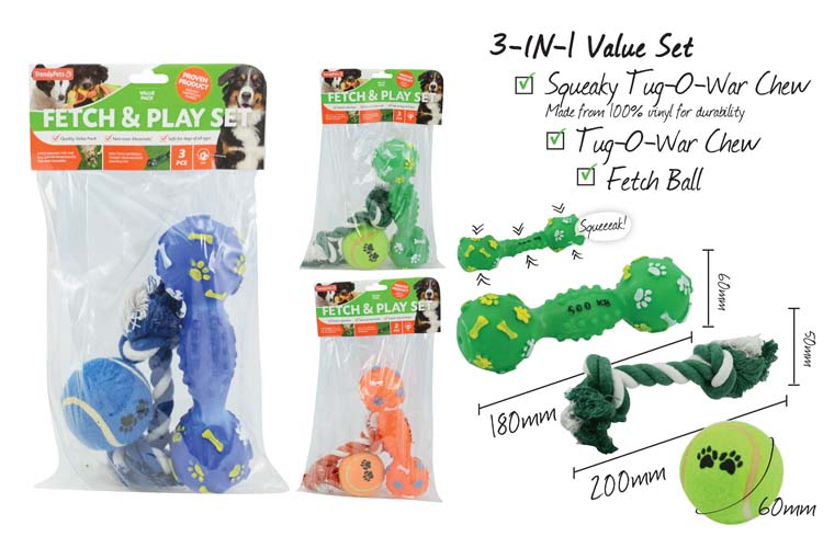 Fetch&Play 3pc Dog Squeaky Toy Set
