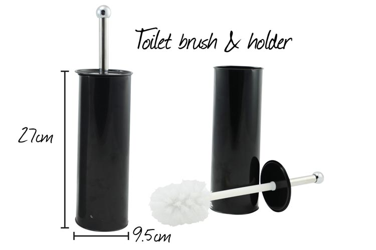Toilet Brush with Stainless Steel Holder - Black Colour