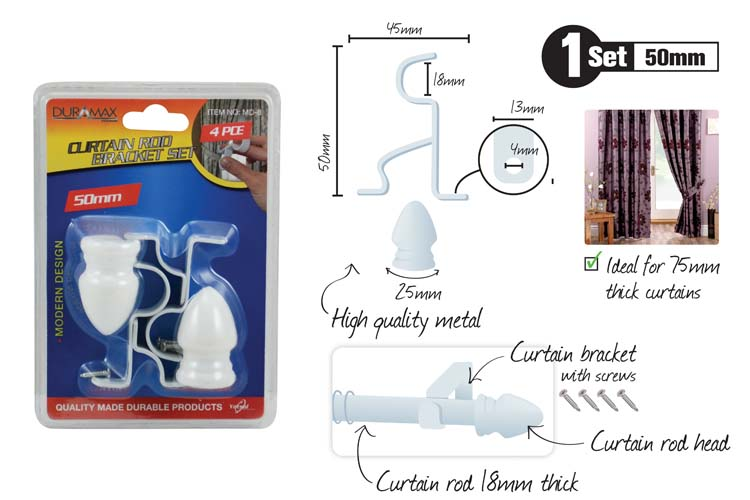 4pc Curtain Rod Bracket Set