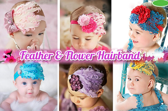 2x Beautiful Baby Feather & Flower Hairband