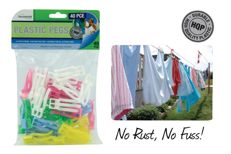 40pc Strong Plastic Pegs