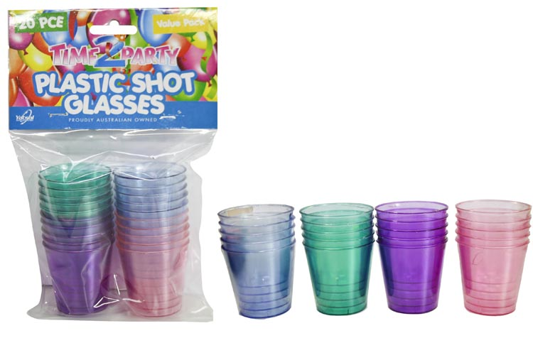 20pk Plastic Shot Glasses